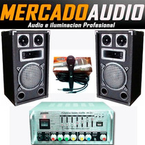 Super Combo Amplificador Usb Karaoke + 2 Bafles 3 Vias + Mic