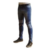 Pantalón Jean Con Cierres Elastizado Hombre