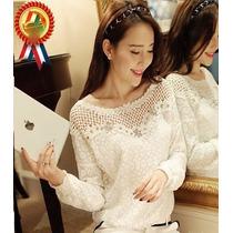 Blusa Rendada Branca Mangas Compridas Tam 36