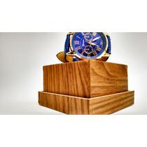 Relógio Feminino Dourado Com Pulseira De Couro Azul.