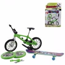 Skate E Bicicleta De Dedo, Com 5 Acessórios