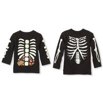 Playera Esqueleto Para Niños Unisex Halloween Brilla