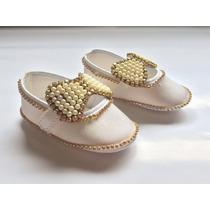 Sapatinho Customizada Bebê Pérola C/ Lacinho E Strass