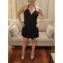 Vestido Básico Preto Frente Única Curto Verão Sexy Casual