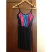 Vestido Noche Negro Lentejuelas Colores Diseño Oportunidad!