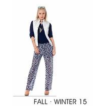 Pantalon Moda Polka Dots Y Print Flores