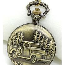 Reloj De Bolsillo Camioneta Antigua En Bronce Exclusivo