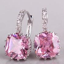 Aros En Cristal Swaroski Elements En Color Cristal / Rosa