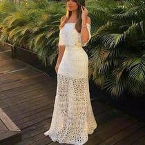 Vestido Longo Feminino Ciganinha Em Trico Linha