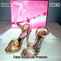 Sandalias Para Dama R&a Color Dorado Nuevas Talla 39