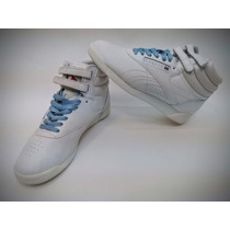 Zapatillas Reebok Freestyle High Blancas-cordones De Colores