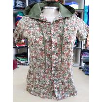Blusa Xica Bunita - C/toca - Floral - Verde Militar