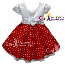 Vestido De Festa Infantil Minnie Vermelho Disney - Promoção!