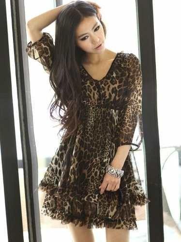 c6248c18d9 Vestido Estampa Bicho Animal Print Importado M - R  250