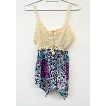 Musculosa Top Tejido Crochet De Bambula Arabescos