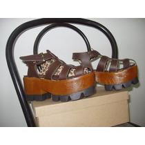 Sandalia Plataforma,marrones,simil Cuero,forro Animal Prin