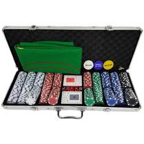 Maleta Poker 500 Fichas Oficiais Sem Numeração Kit Completo
