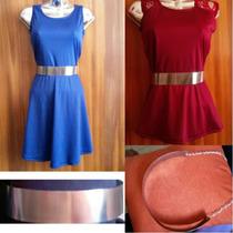 Cinturón Dama Metalico Plateado Para Vestidos Bragas Blusas