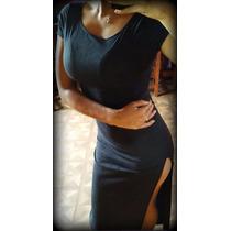 Vestido Largo Tajos/gamuza/gris Topo/negro Gastado/beigesexy