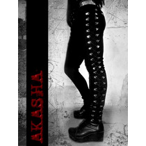 Pantalon Acordonado De Gabardina Elastizada Negra