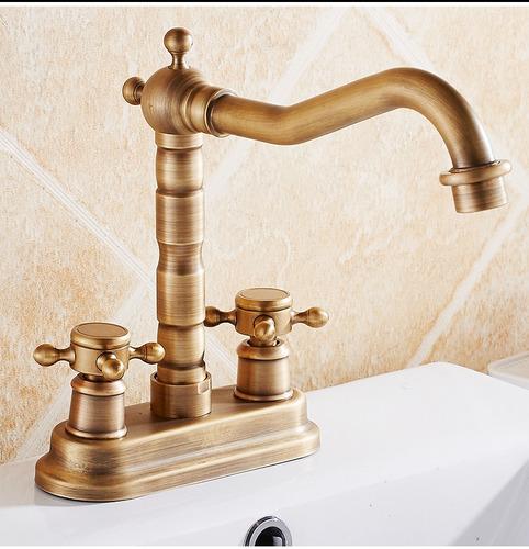 Llave grifo mezcladora lavamanos acabado bronce antiguo for Llave lavamanos sodimac