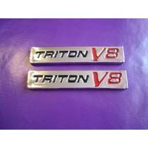 Emblemas Lobo Triton V8 Camioneta Laterales