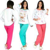 Kit 4 Pijamas Longo Fechado Feminino Manga Comprida Inverno