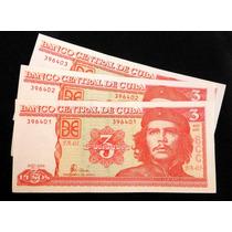 3 Billetes Sin Circular. 3 Pesos. Cuba. 2004. Numer. Consec.
