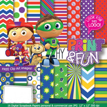 Kit Imprimible Pack Fondos Super Why! Clipart