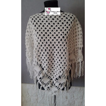 Poncho Artesanal Tejido Al Crochet Hilo De Algodon
