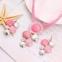 Joyería Conjunto Collar Y Aretes Bolitas Rosa- Cs024