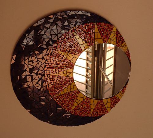 Espejo Sol Y Luna Decorado Artesanal Con Mosaico - $ 1.950,00 en ...