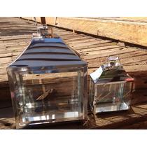 Conjunto Lanterna Marroquina Metal Prata Vela Decoração