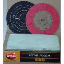 Kit Polimento Para Alumínio Inox E Cromo !!! (pedra Verde)