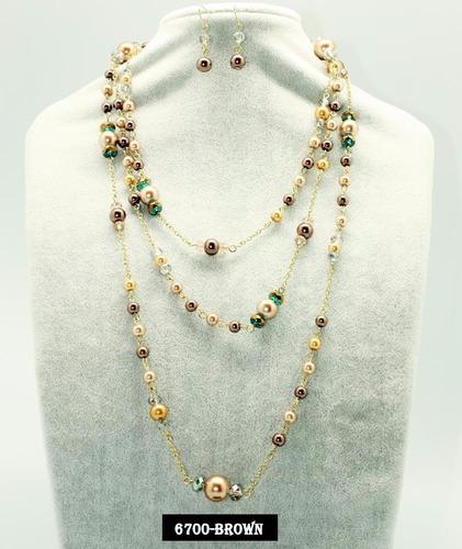 Set Collar Y Aretes De Perla Y Cristal Moda Bisuteria Fina , $ 125.00 en Mercado