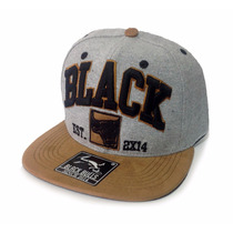 Boné Black Bulls Cinza Preto Aba Reta Snapback Cap Qualidade