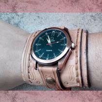 Muñequera Brazalete Pulsera De Cuero Con Reloj Rustico