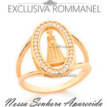 Rommanel Anel Oval Nossa Senhora Aparecida Folh Ouro 511659