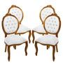 Conjunto 04 Cadeiras Medalhão Entalhada S/ Braço -wood Prime