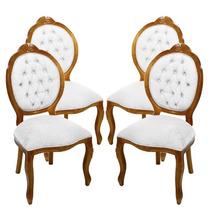 Conjunto 4 Cadeiras Medalhão Entalhada -wood Prime