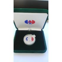 Moneda Plata 999 Rep. Dominicana $1 Coleccion V Centenario