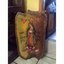 Batea Antigua Pintada Al Oleo Virgen De Guadalupe