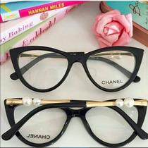 Armação De Óculos De Grau Chanel C/ Pérola Haste C/ Brinde