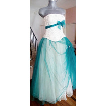 Hermoso Vestido Unitalla. En Color Aqua Y Corset Blanco.