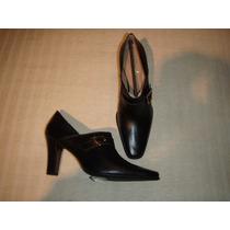 Botines Gacel De Cuero Color Negros Go! N º 37.