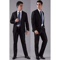 Terno Masculino Italiano Slim Preto Microfibra Palitó/calça