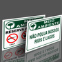 Placa Sinalização De Meio Ambiente Frete Grátis - Kit 05 Un