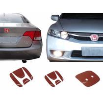 Par Aplique Vermelho Emblema New Civic Traseiro E Frontal