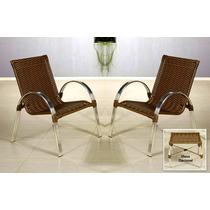 Conjunto De Cadeiras Poltronas Em Alumínio Varanda Rattan