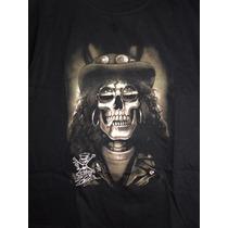 Camiseta Baby Look Rock Slash Caveira Infantil/ M